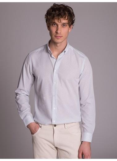 Dufy Desenlı Pamuklu Polyester Erkek Gömlek - Slim Fit Beyaz